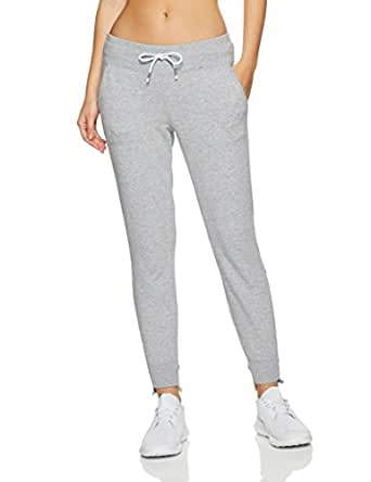 Calvin Klein Women's Embroidered Logo Terry Track Pant with Stepped Hem, Pearl Grey Heather, Medium