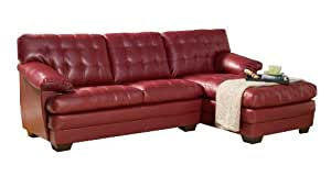 Homelegance 9739RED Channel-Tufted 2-Piece Sectional Sofa Set, Red Bonded Leather