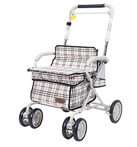TWGDH Folding Rollator Walking Aid Lightweight Elderly Shopping Trolley Height Adjustable with Seat Shopping Basket and Locakble Brakes Bearing,Only 8Kg