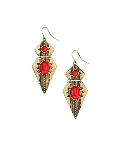 2.75' Drop (Lux Accessories Coral & Burnished Goldtone Arrowhead Drop Earrings)