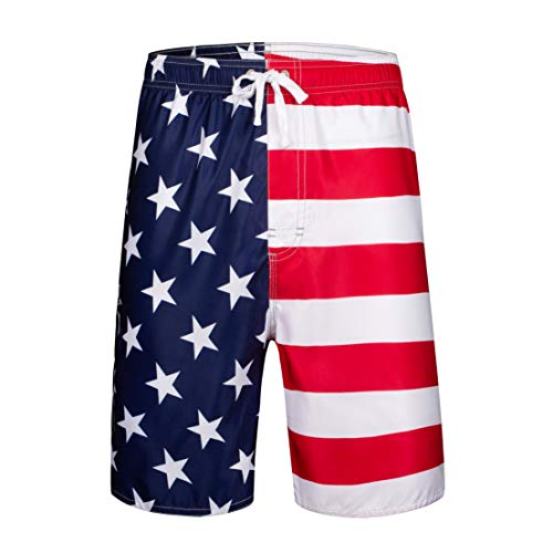 Clothin Men's Quick Dry Surfing Boardshorts with Pocket(USA American Flag,US 38)