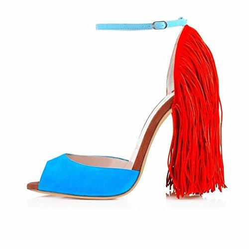 Pary Blu 12 Decorazione Scarpe Fibbia Sandle Delle Sexy Centimetri Toe Tacco Da Sera Nappa Eldof Donne Caviglia Alto Peep q0ZwFqAfU