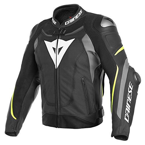 Price comparison product image Dainese Super Speed 3 Mens Perforated Leather Jacket Black / Matte Gray / Fluo Yellow 56 EUR / 46 USA
