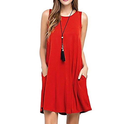 Summer Dress GOODRACE Red Casual Womens Loose Flowy T Shirt Dress Dresses Sleeveless A7qvwTn7I