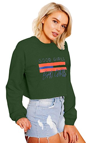 Longwu Women's Cute Printed Long Sleeve Crop Top Sweatshirt Sports Pullover Outwear (Ucla College Leather)