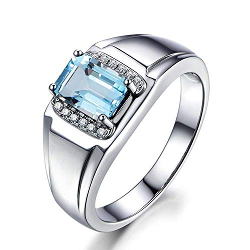 AMDXD Jewelry 925 Sterling Silver Anniversary Ring for Women Blue Square Cut Topaz Band Square Rings Size 6.5
