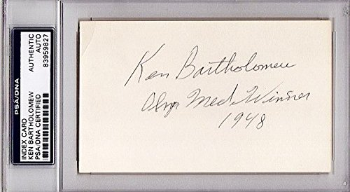 Ken Bartholomew Autographed Signed RARE 3x5 Inch Index Card - 1948 Silver Medalist Olympic Speed Skater - Deceased 2012 - PSA/DNA Authenticity (COA) - PSA Slabbed Holder from Sports Collectibles Online