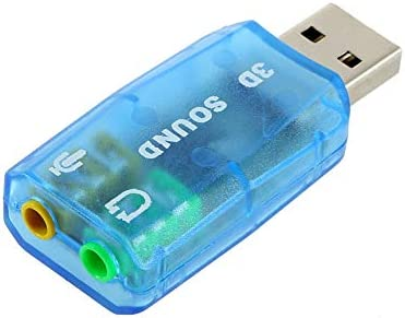 blau FinukGo Tragbare kompakte 3D-Audio-Karte USB 1.1 Mikrofon//Lautsprecher-Adapter 7.1 CH Surround Sound f/ür PC Computer Laptop