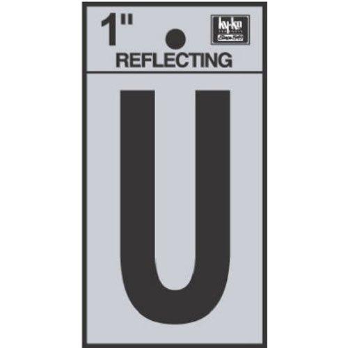 Hy-Ko RV-15/U Reflective Letter with U Sign, 1.25'', Black