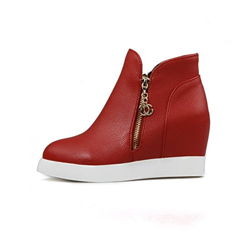 BalaMasa Heighten Inside Ladies Red Imitated Metalornament Boots Zipper Leather EEwPrBtOqx