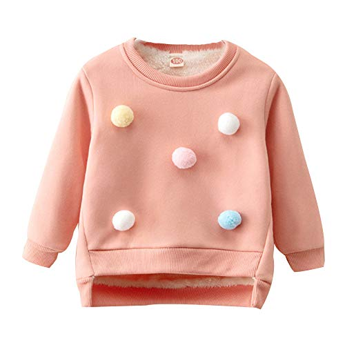 Fheaven Clearance Kids Girl Long Sleeve Outfit, Baby Thick Pullover Sweatshirt Tops Holiday Party Outfits Clothes (2-3 Years, Pink)]()