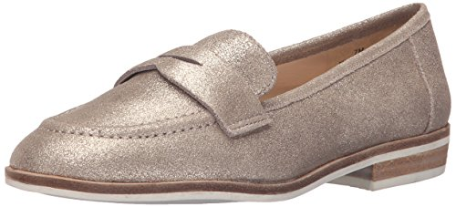 Nine West Womens Antonecia Metallic Slip-On Loafer Natural/Gold