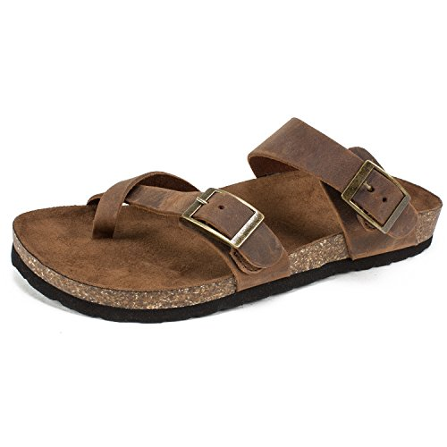 WHITE MOUNTAIN Women's Gracie Flat Sandal, Brown, 9 M US from WHITE MOUNTAIN