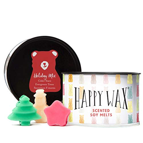 Happy Wax- Holiday Mix Wax Melts - Scented Soy Wax Melts in Fun Unique Shapes! - 3.6 Oz. Tin - Over 100 Hours of Christmas Scents! [Evergreen Trees, Cider Stars, Snowman SMores]