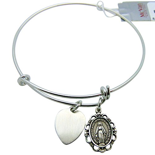 Miraculous Mary Patron Saint Bangle Bracelet Oval Medal Pewter Adult 2 3/4