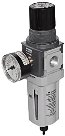 "Parker P32EA94EGMBNGP  One Piece Filter/Regulator, 1/2"" NPT, Polycarbonate with Bowl Guard, Manual Drain, 5 micron, 136 scfm, Relieving Type, 0-125 psig Pressure Range, with Gauge"