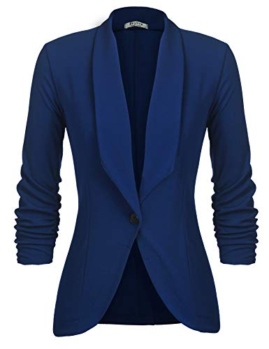 (Beyove Womens Cotton Single Button Work Office Blazer Jacket Suit Royal Blue M)