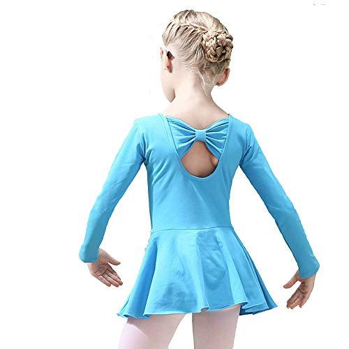 Hesuimaoyi Athletic Leotards Girl's Classic Long Sleeve Gymnastics Ballet Dance Leotard Back Bowknot Dress Blue ()