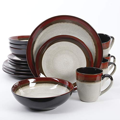 Gibson Couture Bands Reactive Glaze Dinnerware Set, 16 piece, Red and Cream