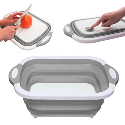 Portable Kitchen Collapsible Dish Tub/Cutting Board/Washing Basin/Drying Rack/Vegetable Basket/Wash Strainer with Integrated Draining Plug, Space Saving 3 in 1 Multifunction Multipurpose Kit