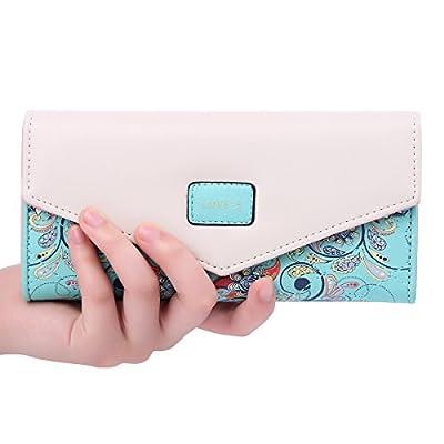 Jastore Womens Envelope Leather Wallet Card Holder Clutch Long Purse