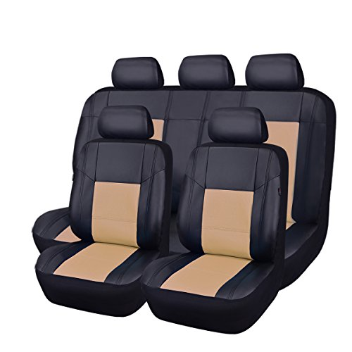 Car Pass Skyline PU Leather Universal Car Seat Covers, 11-Piece (Black with Beige)
