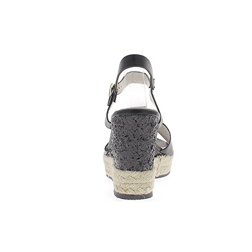 Sneakers nero Zeppa 9cm effetto tacco glitter