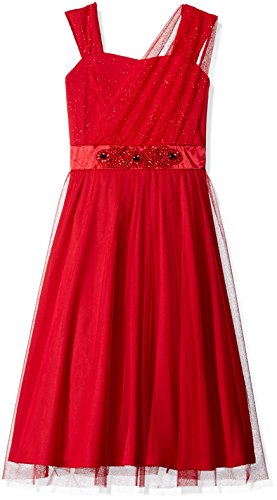 Amy Byer Big Girls' Glitter Mesh Faux One Shoulder Tea Length Dress, Red, 10