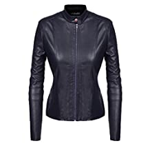 ACEVOG Women Winter Faux Leather Moto Jacket Cyle Bomber Quilted Biker Outerwear