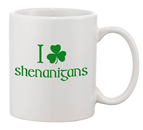P&B I Shamrock Shenanigans Irish Ceramic Coffee Mugs 11 oz (11 oz., White)