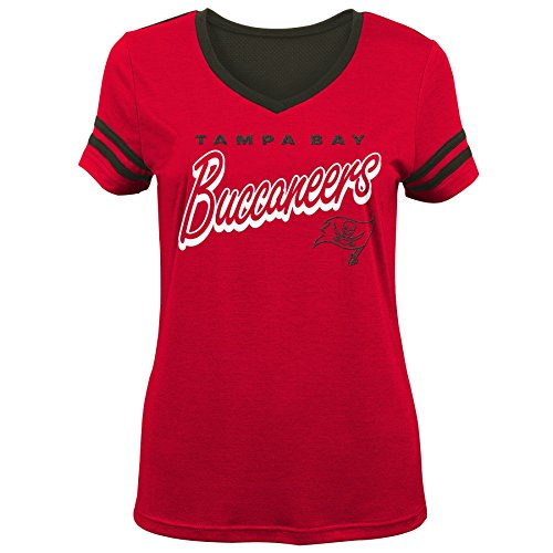 Outerstuff NFL NFL Tampa Bay Buccaneers Youth Girls Sound Wave Short Sleeve Tee Red, Youth Small(7-8)