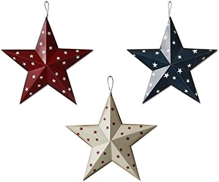 4th of July Independence Day Americana Patriotic Barn Metal 3D Stars Wall Decor Set of 3 Blue Red White