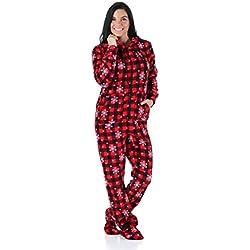 SleepytimePjs Women's Sleepwear Fleece Hooded Footed Onesie Pajamas Red Plaid Snowflake – (ST17-W-3032-SML)
