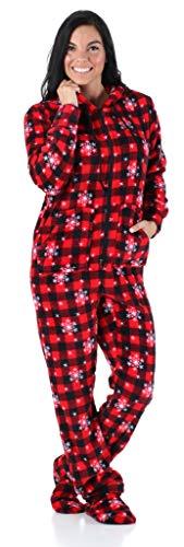 SleepytimePjs Women's Sleepwear Fleece Hooded Footed Onesie Pajamas Red Plaid Snowflake – (ST17-W-3032-XS)
