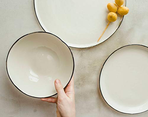 (Handmade 3-Piece Porcelain Dinnerware Set (Soup Bowl, Salad or Dessert Serving Plate, Dinner Plate) - Creamy White with Black Rim - by SIND STUDIO)