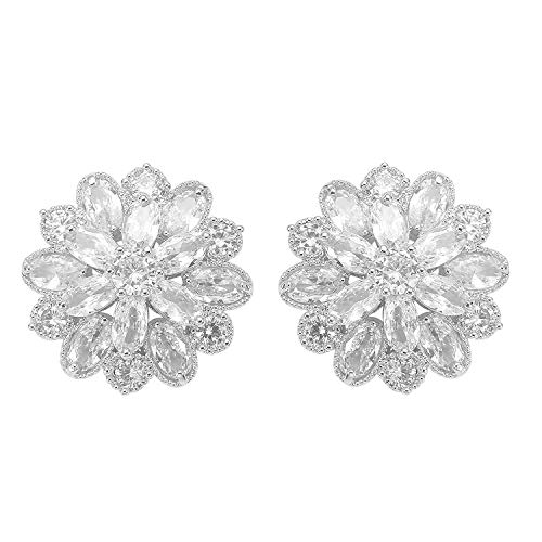 (Stylebar CZ Earrings Stud Bridal Full Cubic Zirconia Flower Floral Pierced Ball Earring for Women Girls Wedding Brides and Bridesmaids Clear Silver-tone)