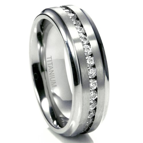 Sz 9.0 Men's 7MM Eternity Titanium Ring Wedding Band with CZ