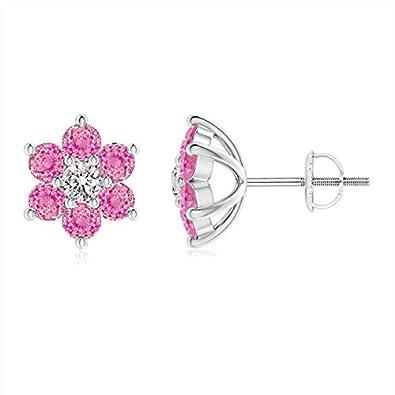 Angara Six Petal Diamond and Sapphire Flower Stud Earrings in Yellow Gold 9j96Qmi7Z