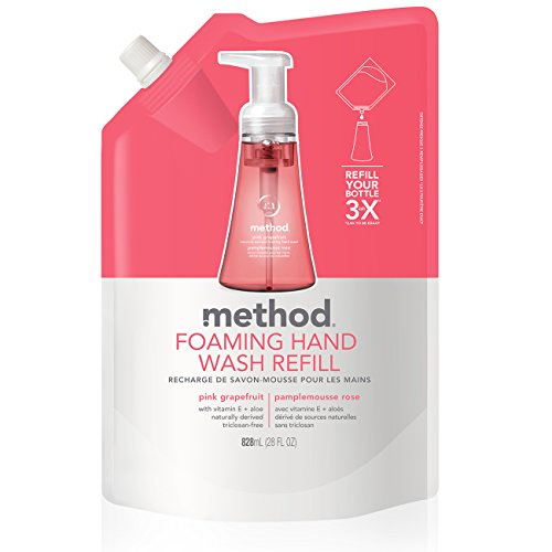 Method Naturally Derived Foaming Hand Soap Refill, Pink Grapefruit, 28 - Hand Refill Wash Method Foaming