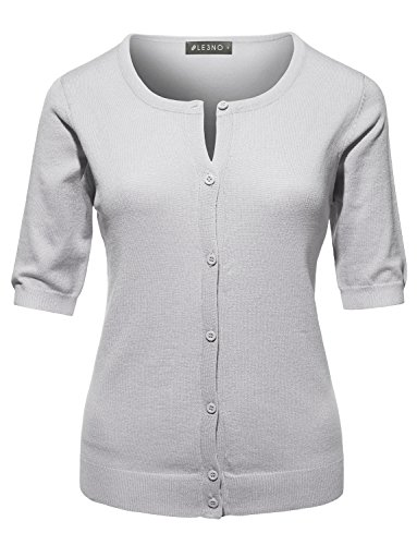 LE3NO Womens Fitted Short Sleeve Fine Knit Cardigan (Knit Sleeve Short Cardigan)
