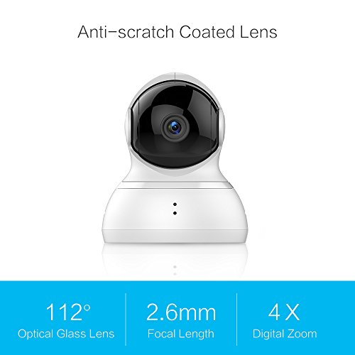 YI Dome Camera Pan/Tilt/Zoom Wireless IP Security Surveillance System 720p HD Night Vision (US Edition)