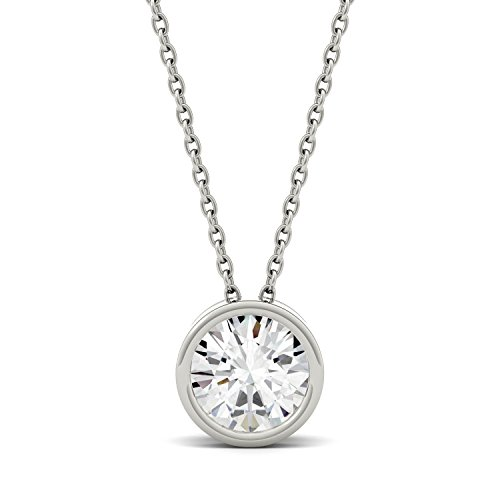 Bezel Round Moissanite Pendant - Forever One White Gold Round 6.5mm Moissanite Pendant Necklace, 1.00ct DEW by Charles & Colvard