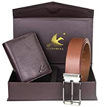 Hornbull Mens Brown Wallet and Brown Belt Combo BW102102