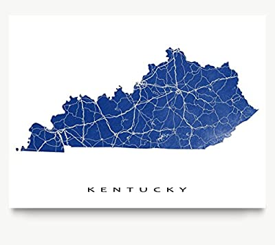 Kentucky Map Print, KY State Art, USA