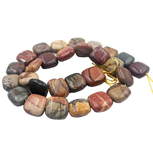 SR BGSJ Jewelry Making Craft Natural 14mm Square Picasso Jasper Beads Gemstone Spacer Loose Beads Strand 15
