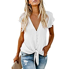 Ecrocoo Women's Summer Ruffle Cap Sleeve Tie Front Knot Blouse Tops Casual Button Down V Neck Tee Shirts