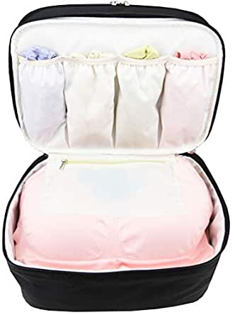 Large Double Layer Travel Organizer Bag for Underwear, Bra, Cosmetic, and Toiletry Kit