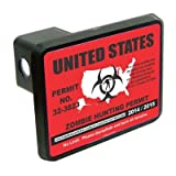 "United States Zombie Hunting permit funny 2"" Tow Trailer Hitch Cover Plug Truck Pickup RV"