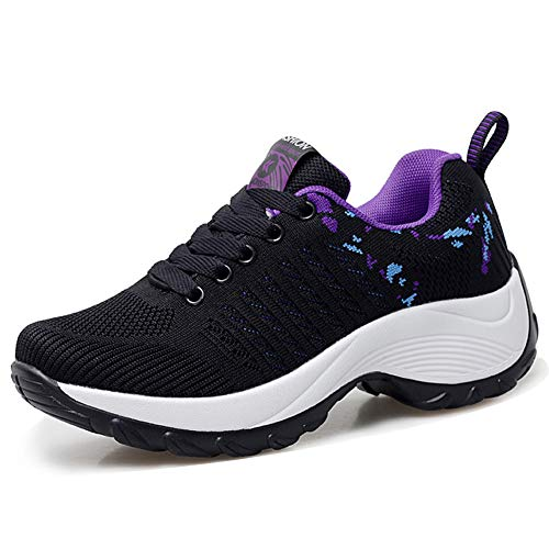 HKR Womens Comfortable Walking Shoes Lightweight Lace Up Platform Sneakers Knit Mesh Working Traveling Shoes Black Purple 6(ZJW1856heizi36)