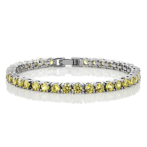Gem Stone King 12.00 Ct Round Cut Canary Yellow Cubic Zirconias CZ 7inches Tennis Bracelet 7 Inch